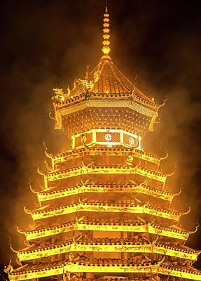 Drum Tower In Guizhou, China Art Print by Tino Soriano