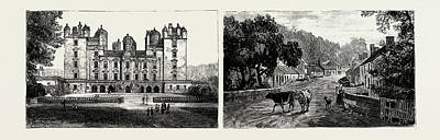 Duke And Duchess Drawing - Drumlanrig Castle, North Front Left The Village by Scottish School