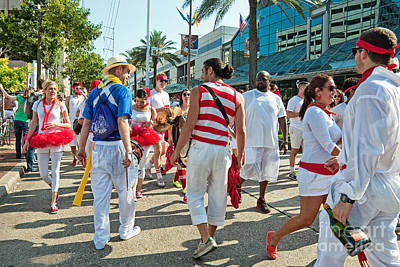 Photograph - Drummers And Runners At Running Of The Bulls New Orleans by Kathleen K Parker