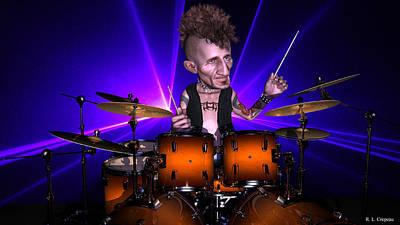 Digital Art - Drumming With Lasers by Robert Crepeau