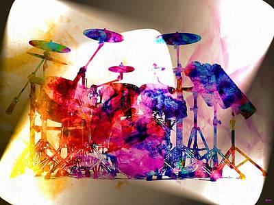 Drum Set Painting - Drums Grunge by Daniel Janda