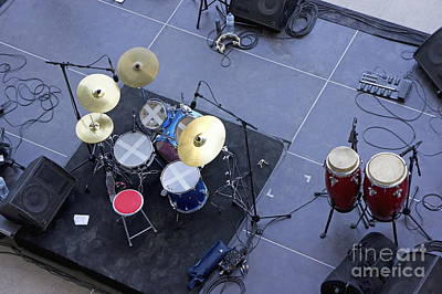 Drums Percussion And Monitors On Stage Art Print by Sami Sarkis