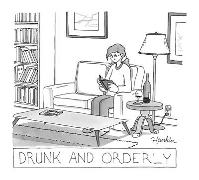 Wine Drawing - Drunk And Orderly -- A Woman Reads A Book by Charlie Hankin