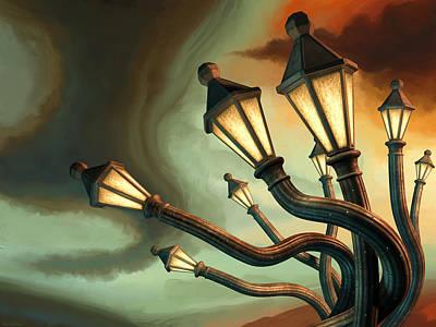 Drunk Streetlamps Art Print by Remus Brailoiu