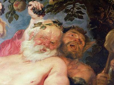 Bacchus Photograph - Drunken Silenus Supported By Satyrs, C.1620 Oil On Canvas Detail by Peter Paul Rubens