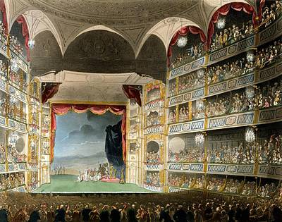 Microcosm Drawing - Drury Lane Theater by Pugin and Rowlandson