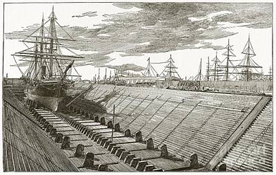 Dry Dock, New York, 19th Century Art Print by Middle Temple Library