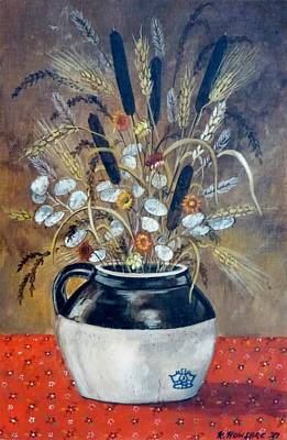 Stoneware Painting - Dry Flowers Crock by Jeff and Kathy Howsare Pearl