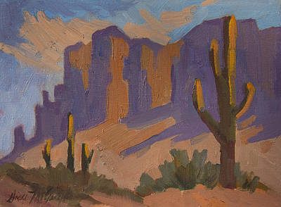 Superstition Mountains Painting - Dry Heat Desert by Diane McClary