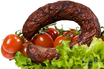 Kielbasa Photograph - Sausage Lying On Lettuce With Red Cherry Tomato  by Arletta Cwalina