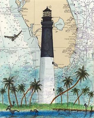 Dry Tortugas Lighthouse Fl Chart Map Art Art Print by Cathy Peek