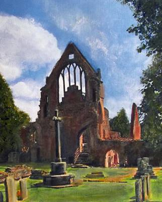 A Space To Cherish Dryburgh Abbey  Art Print by Richard James Digance