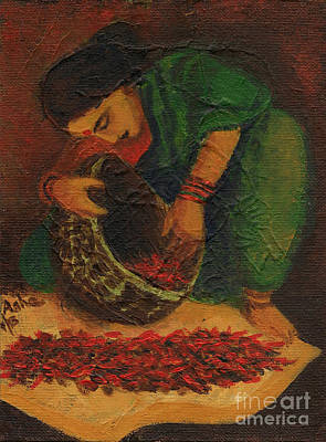 Painting - Drying Chillies by Asha Sudhaker Shenoy
