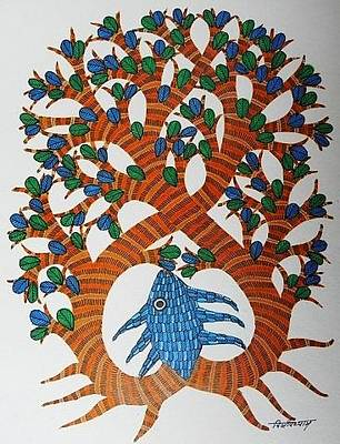 Gond Painting - Ds 315 by Dilip Shyam