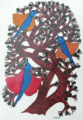 Gond Tribal Art Painting - Ds 510 by Dilip Shyam