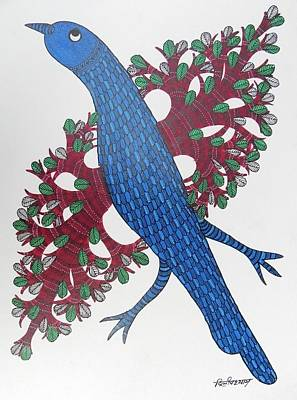 Gond Art Gallery Painting - Ds 524 by Dilip Shyam