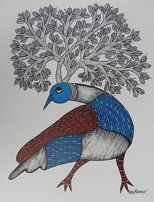 Gond Artist Painting - Ds 526 by Dilip Shyam