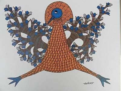 Gond Artist Painting - Ds 528 by Dilip Shyam