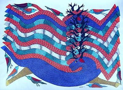 Gond Artist Painting - Ds 529 by Dilip Shyam