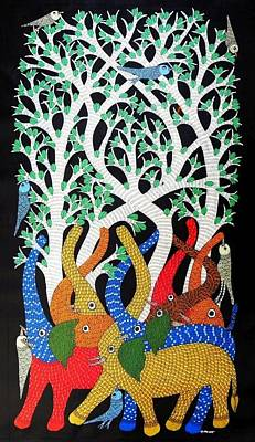 Gond Artist Painting - Ds 533 by Dilip Shyam