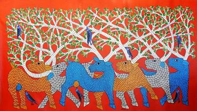 Gond Artist Painting - Ds 536 by Dilip Shyam