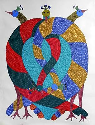 Gond Artist Painting - Ds 537 by Dilip Shyam