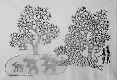 Gond Tribal Art Painting - Dsu 29 by Dhavat Singh Uikey