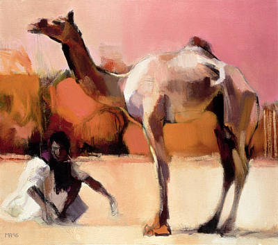 Photograph - Dsu And Said, Rann Of Kutch, 1996 Oil On Canvas by Mark Adlington