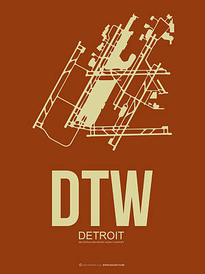 Town Mixed Media - Dtw Detroit Airport Poster 2 by Naxart Studio