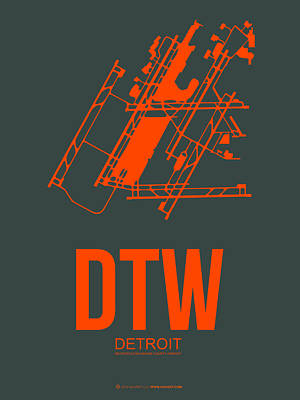 Detroit Wall Art - Digital Art - Dtw Detroit Airport Poster 3 by Naxart Studio