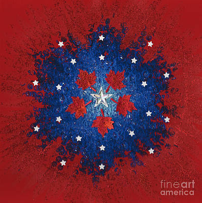 Maple Leaf Art Mixed Media - Dual Citizenship 2 by First Star Art