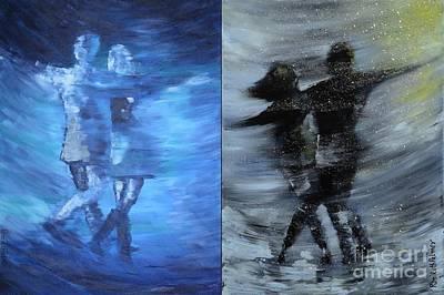 Dual Dancing In The Rain Art Print by Roni Ruth Palmer