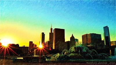 Digital Art - Dual Sunset Painting by Richard Zentner