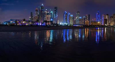 Dubai - Marina Skyline Panorama At Night Print by Jean Claude Castor