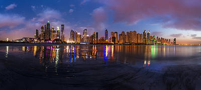Dubai - Marina Skyline Reflections Print by Jean Claude Castor