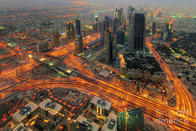 Intersection Photograph - Dubai Areal View At Night by Lars Ruecker