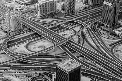 Chaos Maze Photograph - Dubai Highway by Ben Adkison