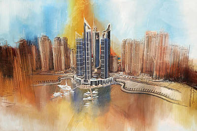 Dubai Skyline Painting - Dubai Marina Complex by Corporate Art Task Force