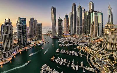 Dubai Marina In The Evening Art Print by © Naufal Mq