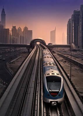 Photograph - Dubai Marina Metro by Radoslav Nedelchev