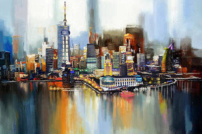 Vista Painting - Dubai Skyline  by Corporate Art Task Force