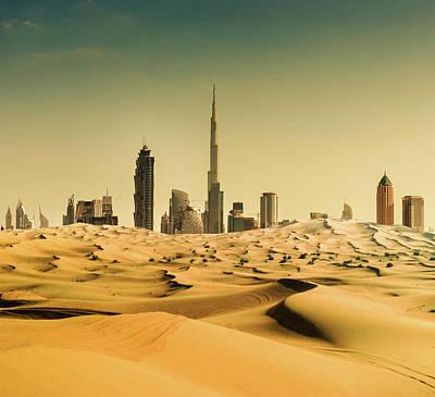 Dubai Skyline From The Desert Art Print by Franckreporter