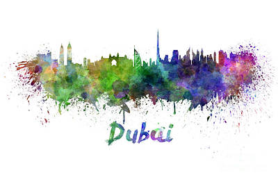 Burj Painting - Dubai Skyline In Watercolor by Pablo Romero