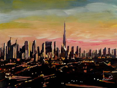 Dubai Skyline Painting - Dubai Skyline- Uae Emirates Skyline At Dusk by M Bleichner