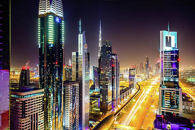 Dubai Skyscrapers, United Arab Emirates Art Print by Mbbirdy