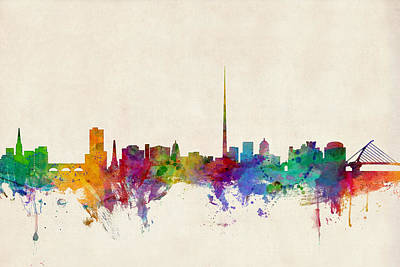 Watercolour Digital Art - Dublin Ireland Skyline by Michael Tompsett