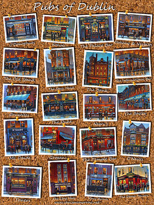 Bruxelles Painting - Dublin Pubs Corkboard by Chris Mc Morrow
