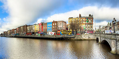 Art Print featuring the photograph Dublin River Liffey Panorama by Mark E Tisdale