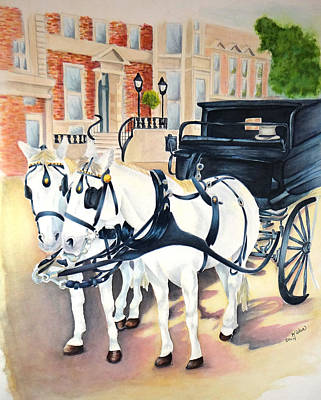 Dublin-st. Stephens Green Carriage Ride Art Print by Kathy Stocks