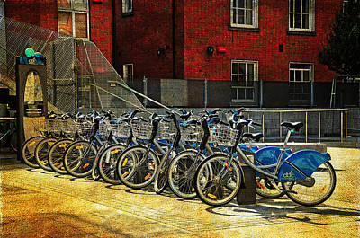 Photograph - Dublin Streets. Bikes In A Row. Painting Collection by Jenny Rainbow